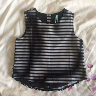 BNWT Navy Striped Crop Top 8