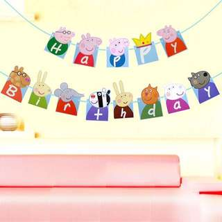 🦁Instock - peppa birthday banner, baby infant toddler girl boy unisex baby infant toddler girl children glad cute 12345