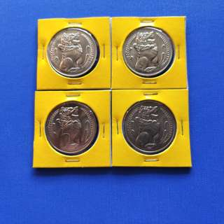 Old Singapore Coins $1 1968-1971 4pcs with coin protector