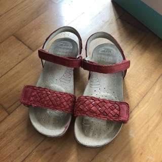 Clarks Red Leather shoes sandals