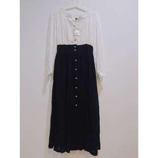 🚚 全新-撞色時尚 開叉雪紡紗洋裝(白)