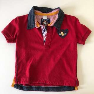 Red Poney polo shirt size 6-12 month