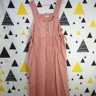 日本古著粉橘色背心裙蕾絲洋裝