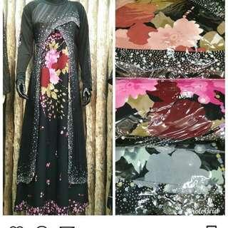 Gamis abaya motif bunga bahan wool peach
