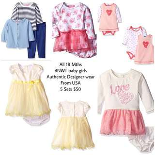 SALE 75% Off - 5 Sets $50 - All 18 Mths BNWT Designer labels - Isaac Mizrahi, Bonnie Baby, kensie Baby & bon Bebe