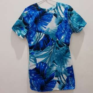 Mini dress / Blouse blue flower
