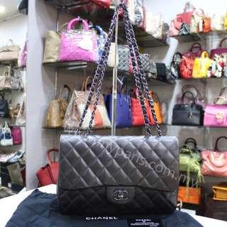 Chanel Dark Grey Lambskin Jumbo Single Flap Bag