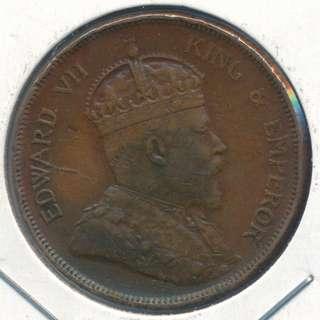 Straits Settlements 1908 1 cent