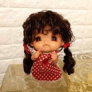日本 七十年代 昭和古董娃娃 近視妹 有酒渦