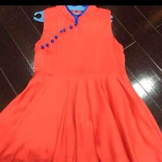 satin cheongsam dress size 5-6 tahun