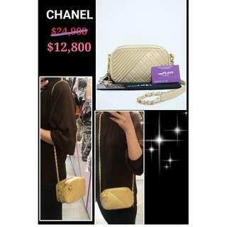 85% New Chanel A92655  金色 牛皮 CC Logo 金鏈 手提袋 肩背袋 手袋 Gold Calfskin CC Logo Handbag with Gold Hardware