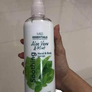 M&S aloe vera&mint hand and body lotion