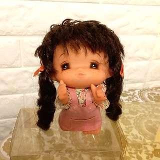 日本 昭和 七十年代 古董娃娃 經典近視妹 矇豬眼 吊帶裙