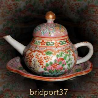 19thC Chinese Canton Famille Rose Mini Teapot and Stand