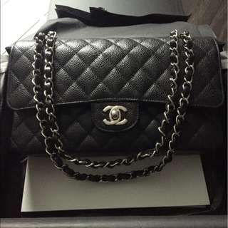 CHANEL MEDIUM BLACK CAVIAR WITH SILVER HARDWARE * AUTHENTIC*