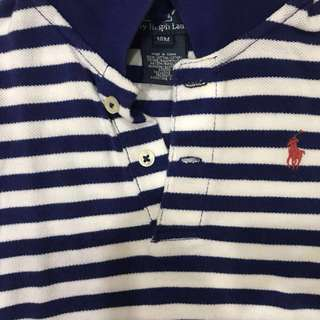 Polo Ralph Lauren navy blue and white striped onesie romper