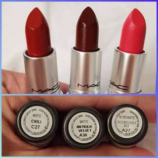 U.S. AUTHENTIC MAC MATTE LIPSTICKS