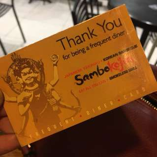 Complete Sambo Kojin Frequent Diner Card