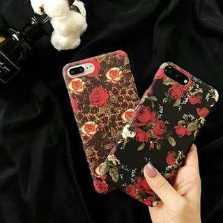 磨砂紅花黑底手機凱/iPhone 7 Case