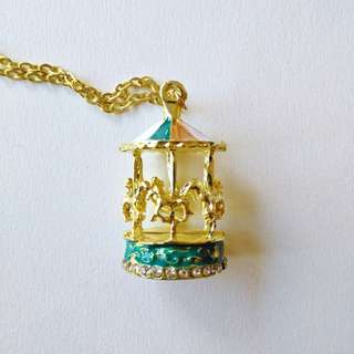 Horse Carousel/Merry go round Gold Necklace