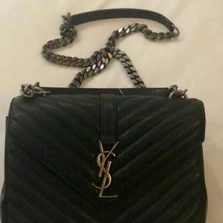 YSL Monogram College small leather stachel