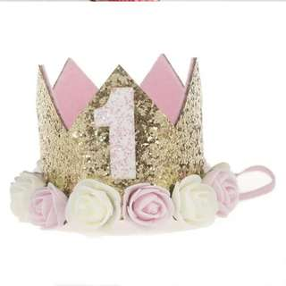 BNIB Baby girl first birthday headband crown