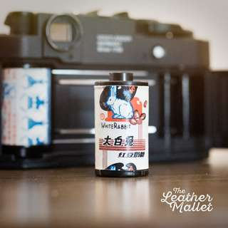 White Rabbit Film Fridge Magnets. Made from authentic White Rabbit Sweet Candy wrappers & 35mm analog films.