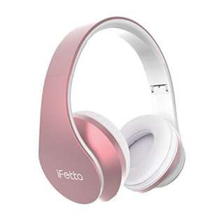 Bluetooth Wireless Over-ear Stereo Headphones, Fetta 4 in 1 Upgrade Bluetooth Foldable Headsets with Micro Support SD/TF Card Upgrade Rose Gold