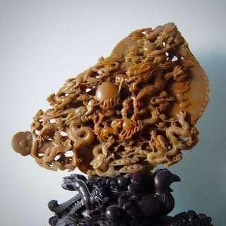 Shou Shan Sculpture田黃寿山石雕-龙凤呈祥