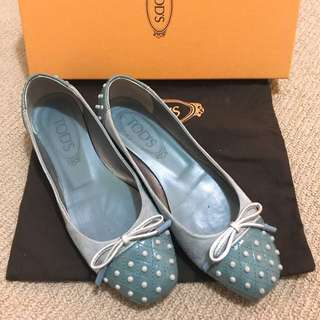 Tod's ballet flat baby blue driving shoes