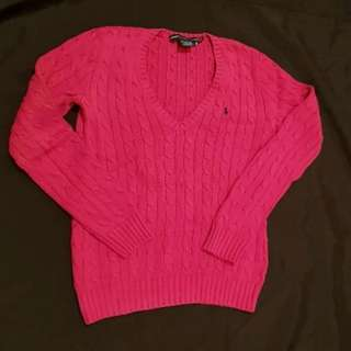 Ralph Lauren Sport Cable Knit. Pink with blue horse. Medium.