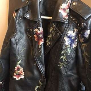 Black Embroidered Vegan Leather Jacket size M