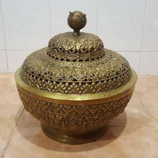 Vintage large brass incense bowl