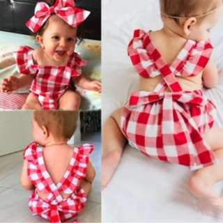 ✔️STOCK - 2pc CNY RED GINGHAM ROMPER TOP & HEADBAND SET NEWBORN BABY TODDLER GIRL CASUAL KIDS CHILDREN CLOTHING