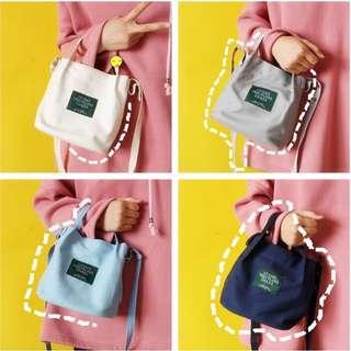 🚚 字母帆布手提包水桶包(藍色)