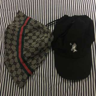 (FREE SHIPPING) Gucci inspired bucket hat and Drake cap