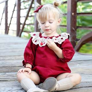 ✔️STOCK - CNY RED LONG SLEEVES WHITE CROCHET COLLAR LACE ROMPER TOP NEWBORN BABY TODDLER GIRL CASUAL KIDS CHILDREN CLOTHING