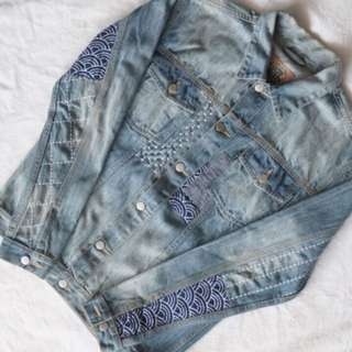 PMP Denim Jacket with sashiko custom not elhaus zara