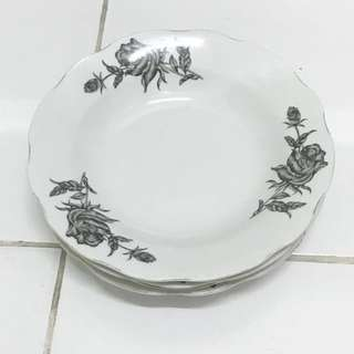 Vintage Black Rose Plates from the 60s Set of 4