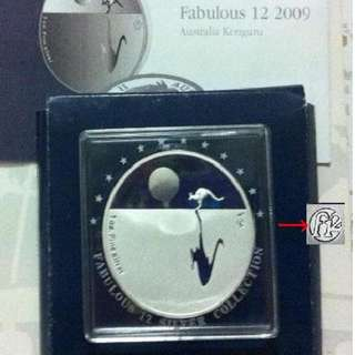 ★ AUSTRALIA $1 - 2009 f12 KANGAROO @SUNSET. 1 Troy Oz. 999 Fine Silver Proof Coin (bars* ref)