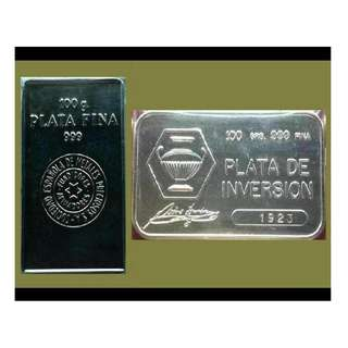 ★ or Best Offer.. SPAIN, 1 Lot - 2x 100g Grams (6.42 Oz Troy) 999 Fine Silver Classic bars (coins* ref)