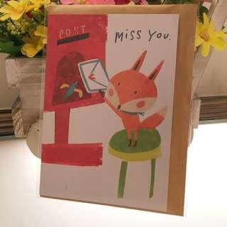 Fox Greeting Card Miss You Warm Greetings Wishes Boyfriend Girlfriend Valentine Love Letter