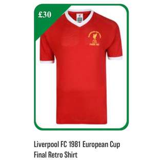 Liverpool 1981 European cup final retro jersey