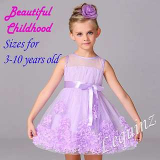 Lavender Floral Flowers Lace Princess Girl Dress 👗