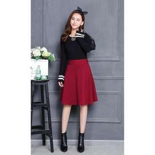 🚚 韓現貨 紅色質感顯瘦中裙