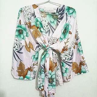 Kimono flowery silk green hijau
