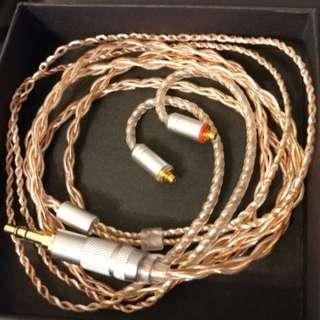 冷涷單晶銅 銀銅混織耳機升級線3.5mm 頭 mmcx 插shure fender weston campfire 等mmcx 耳機