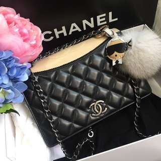 ❌SOLD❌ Full Set With Receipt! Like New Condition Chanel Medium Seasonal Flap Bag in Beige and Black Calfskin and RHW