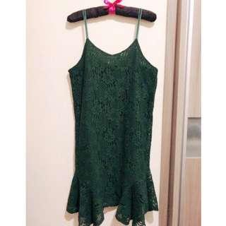 🚚 全新🔥墨綠織花魚尾洋裝
