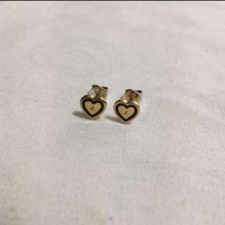 (全新)Agnes B Gold Heart Earrings 金色配黑色心形耳環